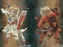 中國神人畫家將高達、紅渣古變門神