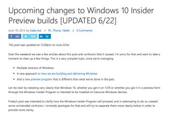 【不是正版?】微軟釐清 Windows 10 測試版升級問題