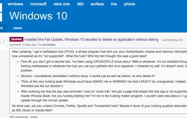 【咁都得?】用戶投訴 Windows 10 更新會自動刪除部分程式