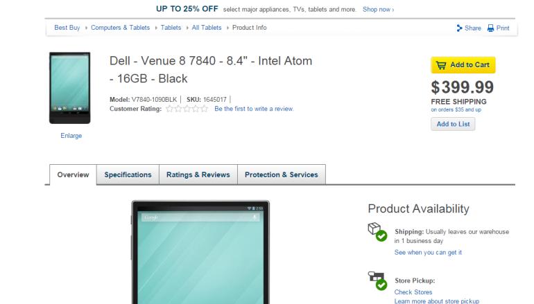 Dell Venue 8 7840 終於上架