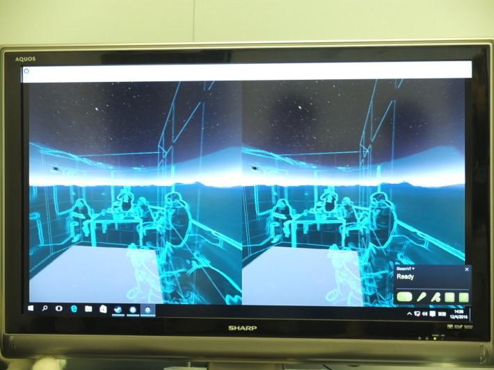 用戶走近活動空間的邊緣時,HTC Vive 會以半透明影像,提示用戶快走出活動範圍,避免踫上障礙物受傷。