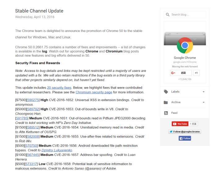 最新版本的 Chrome,帶來多達 20 個安全修正,當中包括多個高危級別的漏洞。