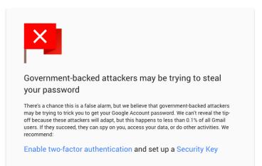 Gmail新保安功能 遭政府監視自動通知