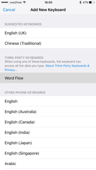 選擇「Word Flow」加入到鍵盤選項中。