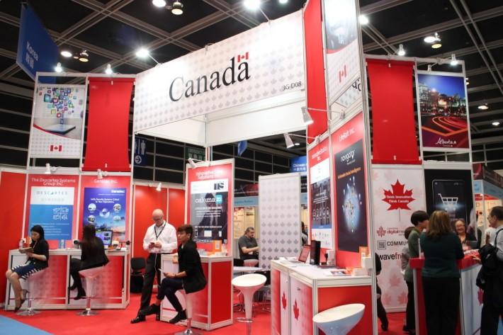 場內亦有來自多國的創業公司參展,部分國家更有專區,如加拿大、中國等。