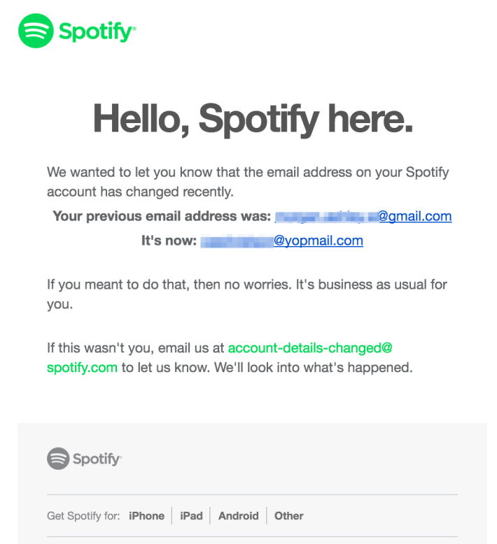 Spotify 已主動與有帳戶異常的用戶聯絡。