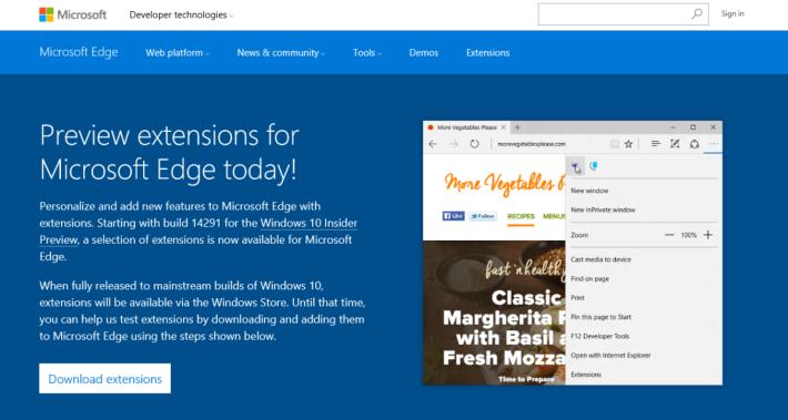 有關 Edge 插件的網頁早已準備就緒,內容指插件正式推出時,Windows Store 將成為發布平台。