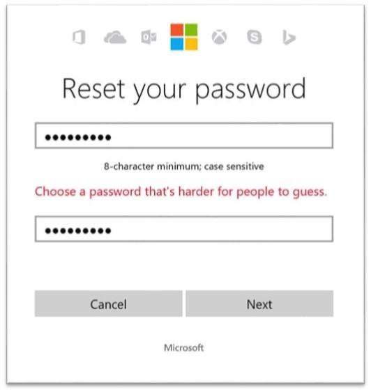 Microsoft 已禁止用戶選用常見的密碼組合。