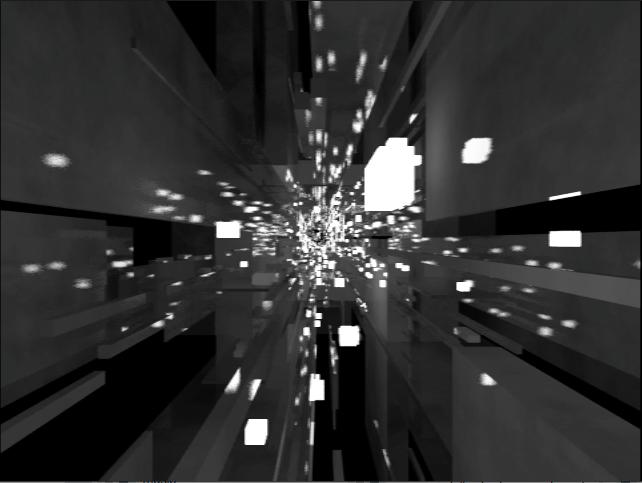 展覽中的《 AWKWARD_CONSEQUENCE 》邀請藝術家表演音樂,透過 VR 眼鏡就能感受到上圖的感官體驗。