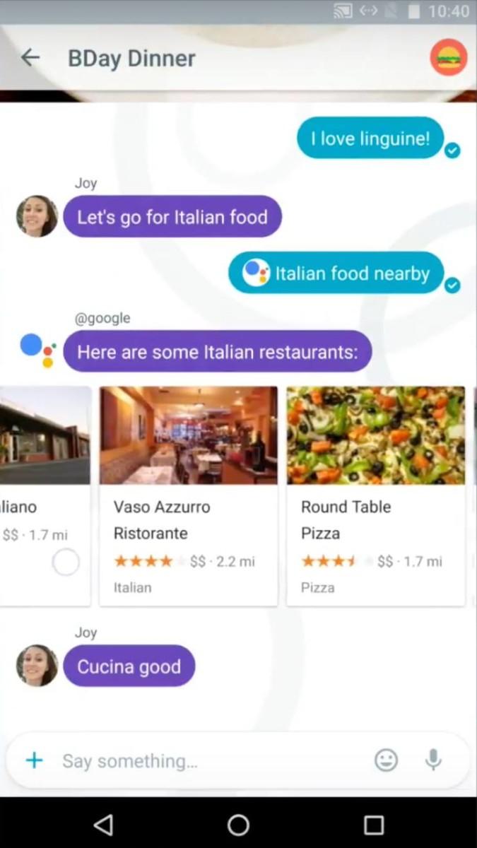 鍵入「@google」同女Google 機械人傾計時,可以進行餐廳搜尋。