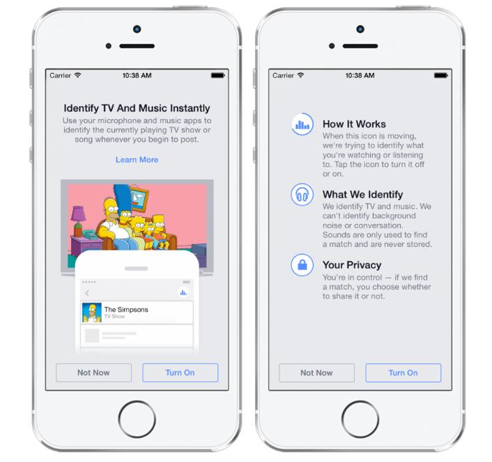 兩年前Facebook亦新增一項功能,畀用戶可以打卡時選擇允許Facebook利用手機咪高峰,自行辨識用戶欣賞緊嘅音樂、電視或電影。