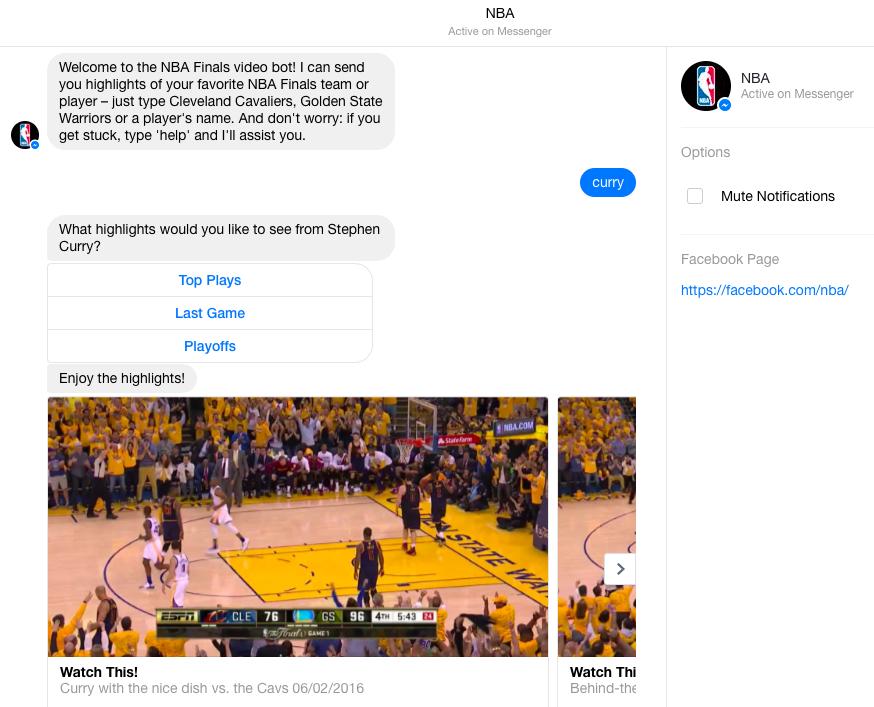 用Facebook Messenger並搵到NBA的官方Page,再同NBA「傾計」就可以睇到場波入面不同精華。