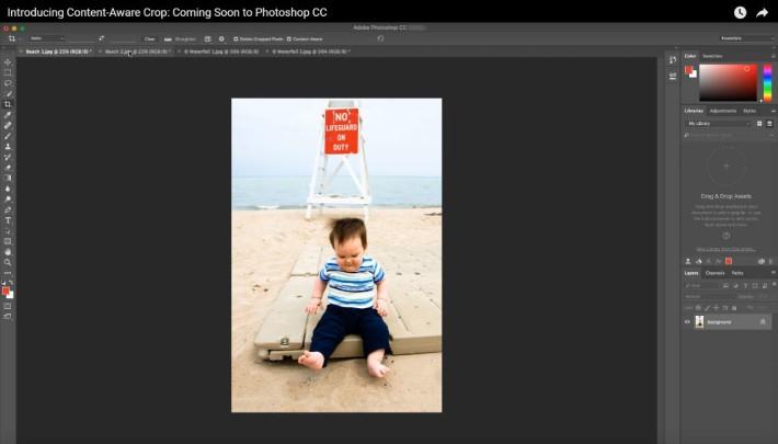 使用這功能裁相後,相片沒有變得緊迫,小孩和紅色牌仍完整。