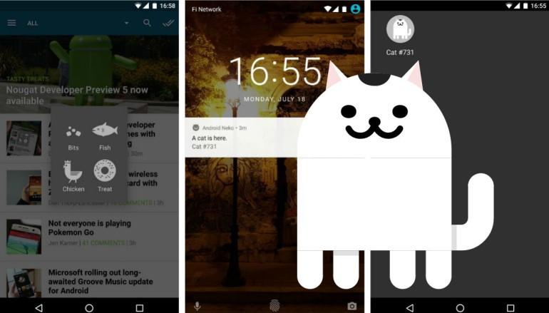 Android N 準正式版內藏引貓遊戲
