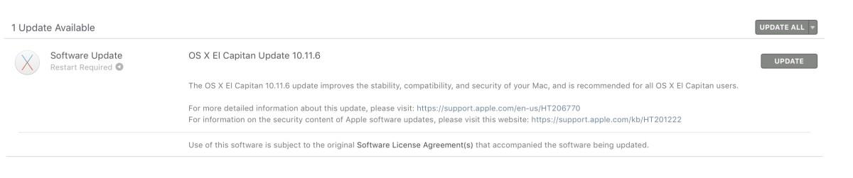Mac OS X 10.11.6