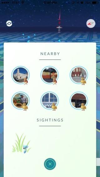小部分被選中的玩家會同時顯示「Nearby」,仲會標示埋附近精靈最近嘅PokéStop。