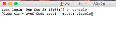 之後在 Terminal 中輸入「Sudo spctl --master-disable」,如果有設定管理員密碼,用戶便要輸入,之後便會完成程序。
