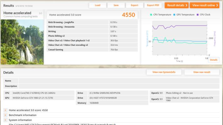 PCMark 8 Home Accelerated 3.0 得分高達4,550 分,在一眾 Core i7- 6700HQ 機種中名利前茅。