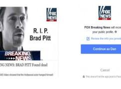 【RIP】Brad Pitt 已死?!又要小心 FB 病毒呀!