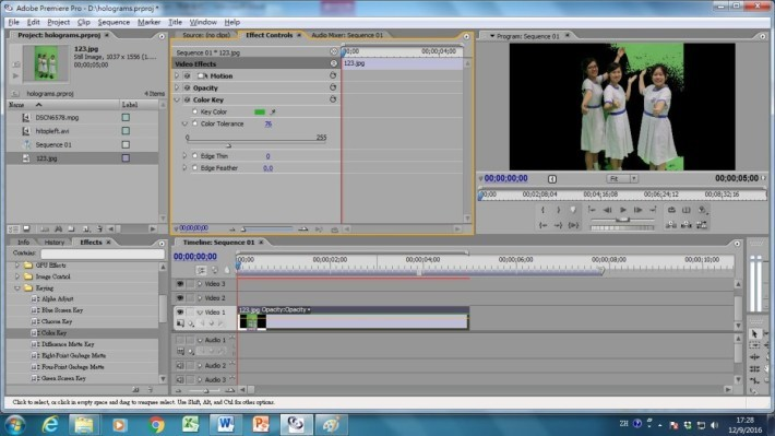 然後調節「Color Tolerance」以控制褪去該顏色的程度,直至影片中的背景全部褪去,再把影片匯出便完成。