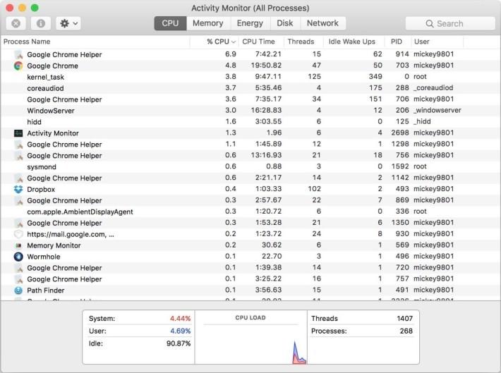 MacBook 的效能回復啦! soagent 和 callservices 都幾乎不見了。