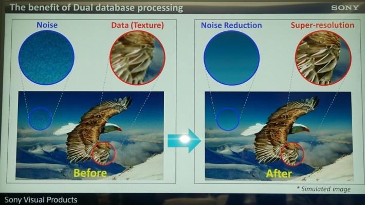 雙數據庫可讓畫面同時處理訊噪柔化及細節提升。