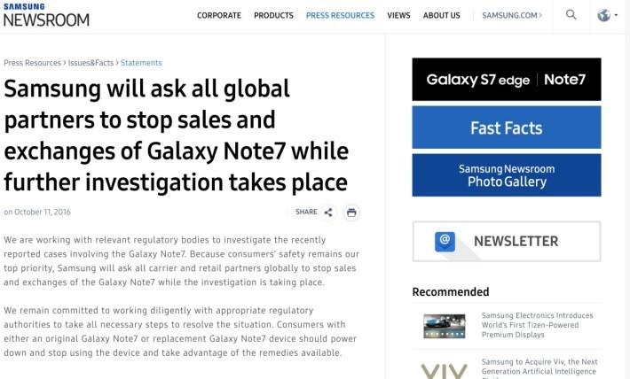 Samsung 在官方新聞網頁上發表聲明,宣布全球停售 GALAXY Note 7
