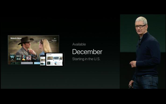 TV 應用程式將會於 12 月推出。