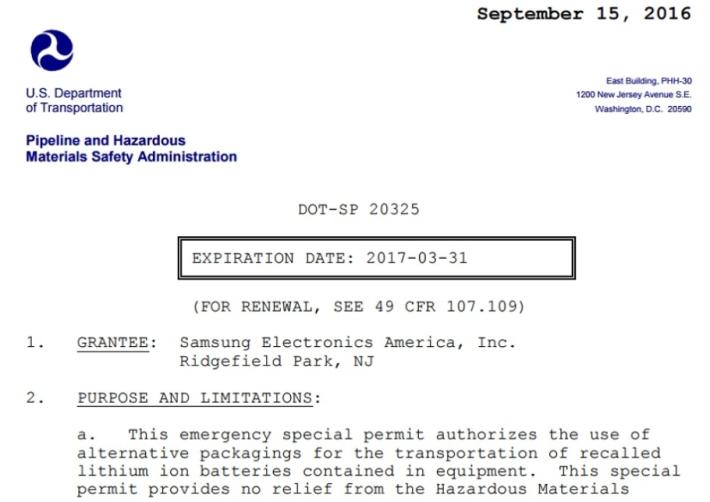 美國運輸部向 Samsung 發出的危險品批文