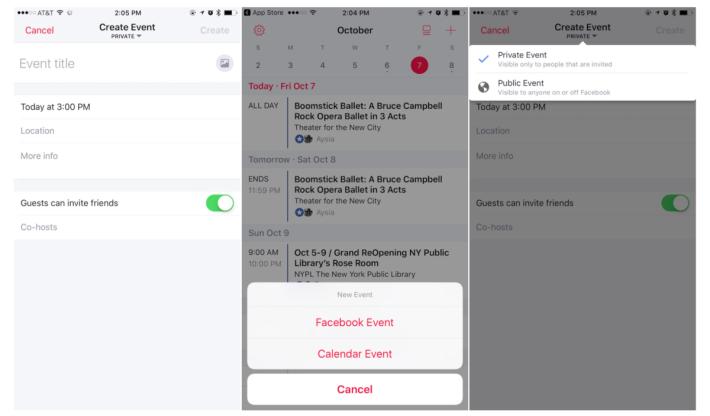 你可以透過 Events from Facebook App 來創建活動