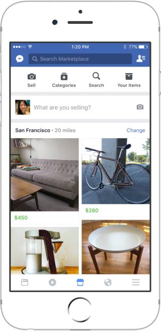 一進入 Facebook Marketplace,會先列出附近你有可能感興趣的商品,參考更多你的購買習慣來作篩選。