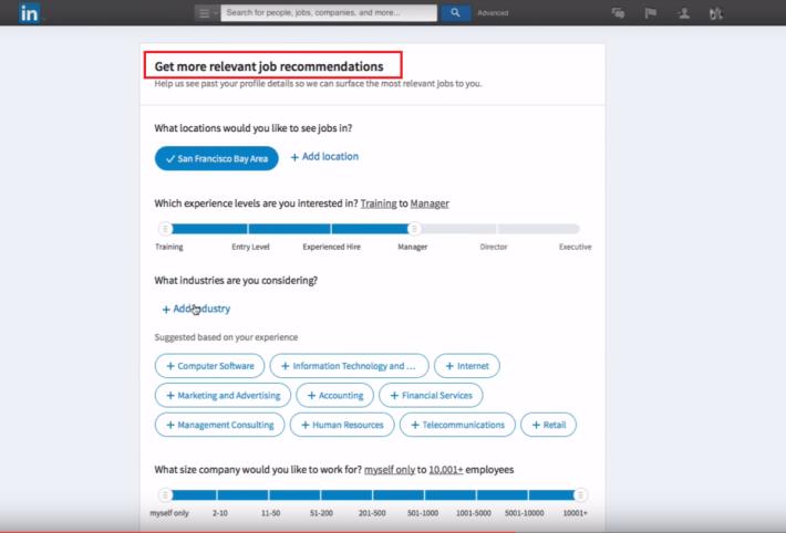 你也可於「Get more relevant job recommandations」欄目填充基本資料,以增加接觸其他同類型心儀公司的機會。