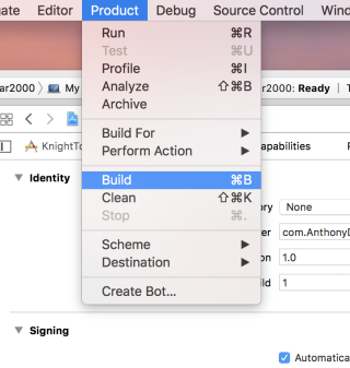 Build 選項可以在 Product 選單中找到。