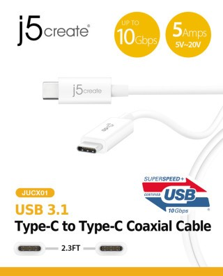 j5 create JUCX01 傳輸線,傳輸速度仍是10Gbps,但最大供電功率就達到100W。
