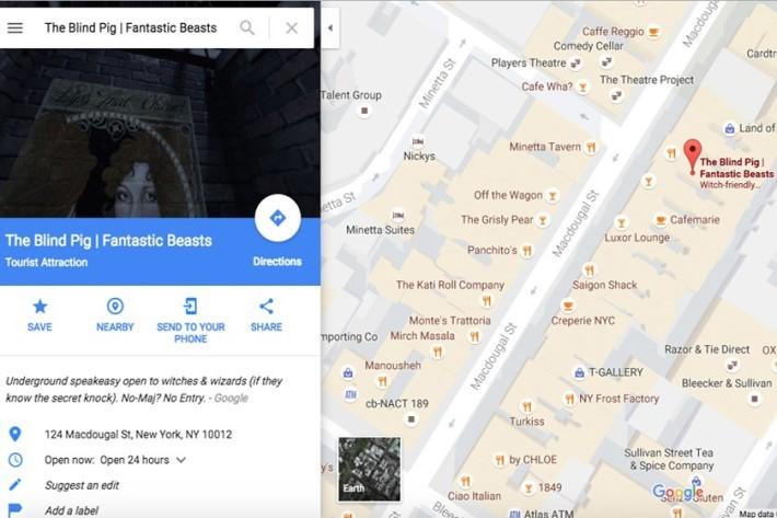 在 Google 地圖內尋找The Blind Big 酒吧,便會有相應指示。