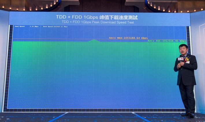 會上示範中移動香港以TDD-LTE 2300MHz 頻段,再與FDD-LTE 2,600MHz、1,800MHz及2,100MHz配合成4CC CA,加上 256QAM 及 4 x 4 MIMO 技術,達到下載 1Gbps 的峰值速率。