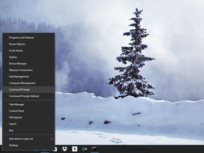 在 Windows 10 中,點擊滑鼠右鍵開始清單,進入「命令提示字元 Command Prompt」。