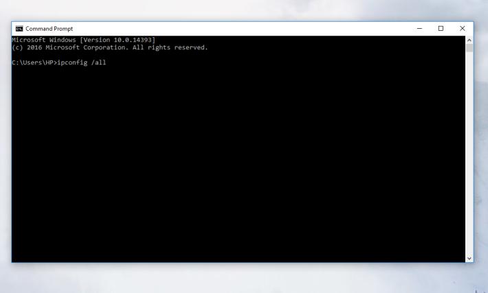 輸入「ipconfig /all」,可以檢視現時的網絡設定。
