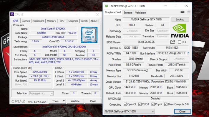 流動版 GTX 1070 內建 2,048個 CUDA 核心,但核心 Base 及 Boost 時脈均略低於桌面版。