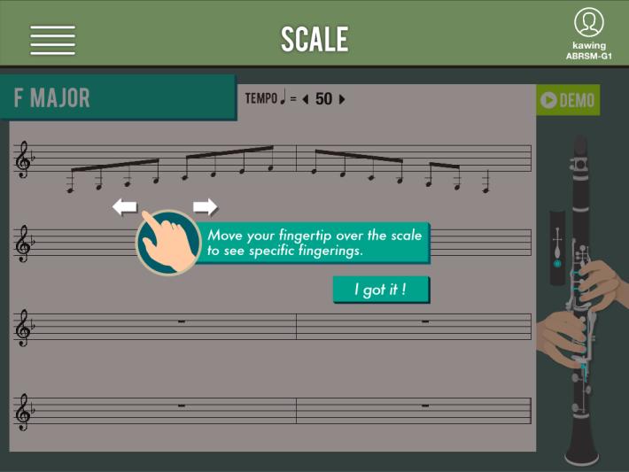 只要於手指上點選樂譜,同一畫面的右邊就可以看到樂器演奏的指法。