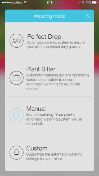 提供 4 種灌溉模式,讓用戶按個人方式選擇。