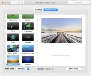 在「System Preferences.../Desktop & Screen Saver」裡選「 Screen Saver 」頁,捲動到最底就可以選取到 Google+ Featured Photos 作屏幕保護程式。