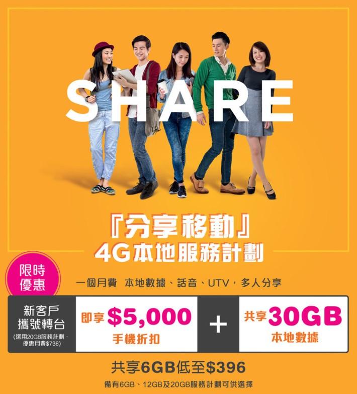 使用「分享移動」 20GB 計劃,轉台客戶更可享額外 10GB 的數據量,仲可以 $0 機價拎走 iPhone 7 或享有 $5,000 手機折扣。