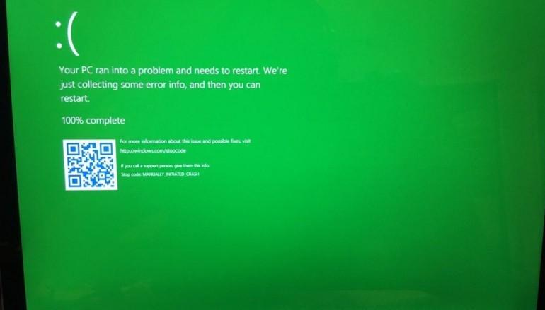 Windows 10 死機畫面由藍變綠 ?