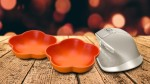 3D render of a Christmas background with old wooden table against bokeh lights background
