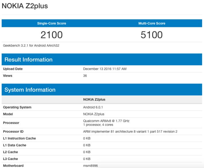 據網站上的資料可見,Z2 Plus 使用 MSM8996,亦即是Snapdragon 820 處理器,並備有 4GB RAM。