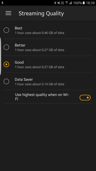 App 內 可設定 Streaming 或下載影片的質素,更有 1 小時影片會佔用多少容量參考,幾貼心。