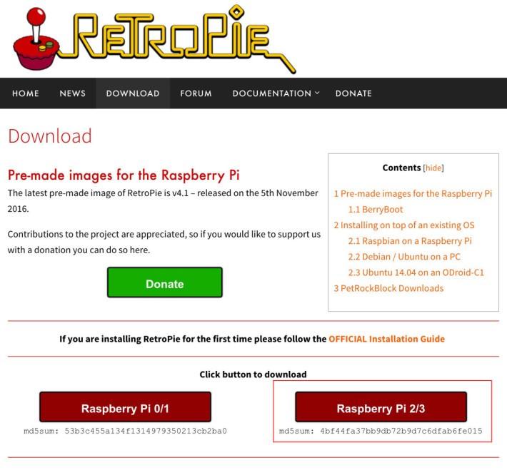 RetroPie 對應多款 RPi 型號。