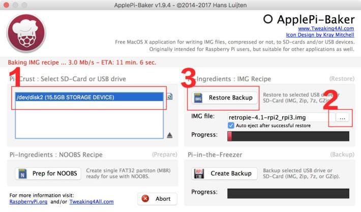 只要依序選擇 SD 卡、解壓後的 RetraPie img 影像檔,按下「 Restore Backup 」就可以等待完成。