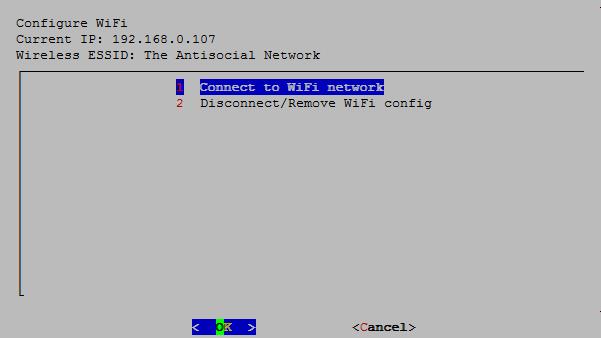 為了方便將來更新系統和從其他電腦抄寫遊戲,需要將 RPi 連上家中網絡。如果使用 RPi 3 Model B 就可以用 Wi-Fi 連線,比過去用 USB 方便得多。按下 1 就會看到系統找到的 Wi-Fi 接入點清單。